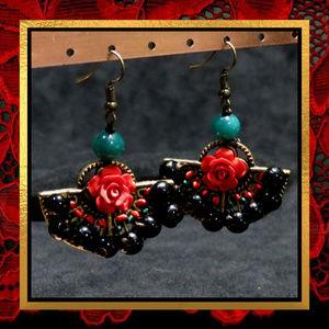 New Rose & Gemstone Beaded Earrings  #776